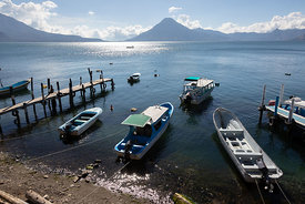 Lago de Atitlán, the tourist magnet of the Western Highlands. Panajachel, Guatemala