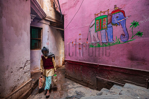 Man Walking Past a Mural of an Elephant