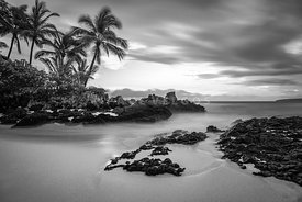 Maui Makena Secret Cove Wedding Beach Black and White Photo