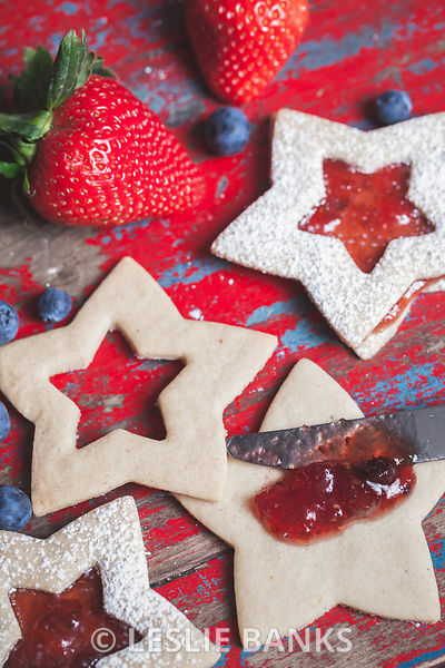 Assembling Jam Filled Star Shaped Cookies