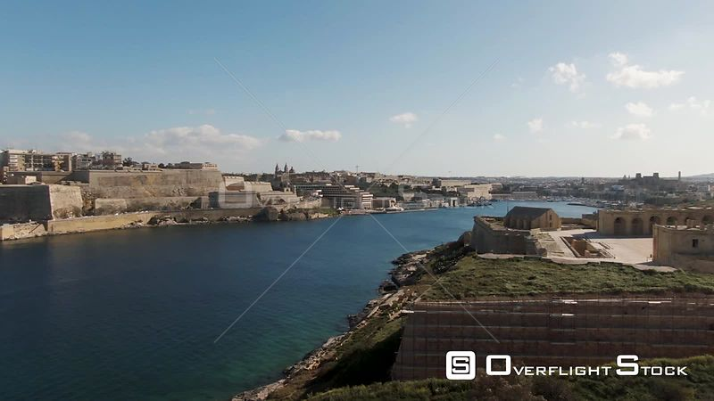 Aerial panning view of Manoel island and Valletta , the capital of Malta