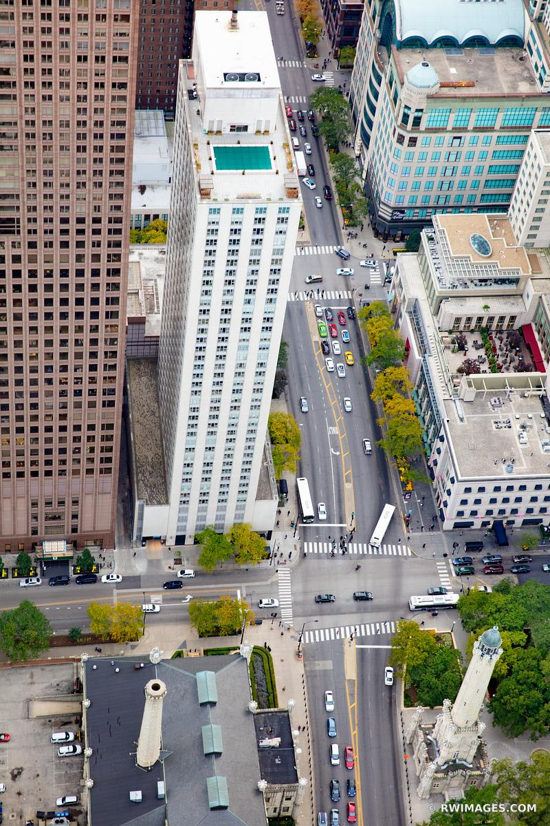 MICHIGAN AVENUE CHICAGO DOWNTOWN AERIAL VIEW CHICAGO ILLINOIS COLOR VERTICAL