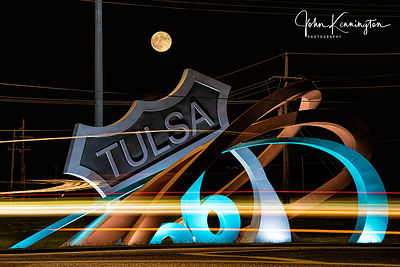 Moon RIsing Over Tulsa Route 66 Rising Monument, Tulsa, Oklahoma