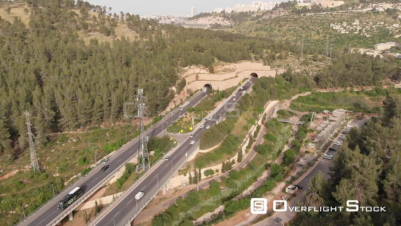 Flight Over Jerusalem Traffic Cars Entering in and Out of Tunnels