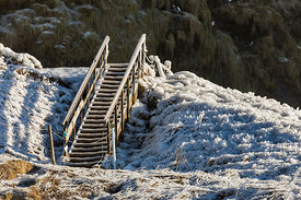 Stairs at Seljalandsfoss Waterfall in Iceland