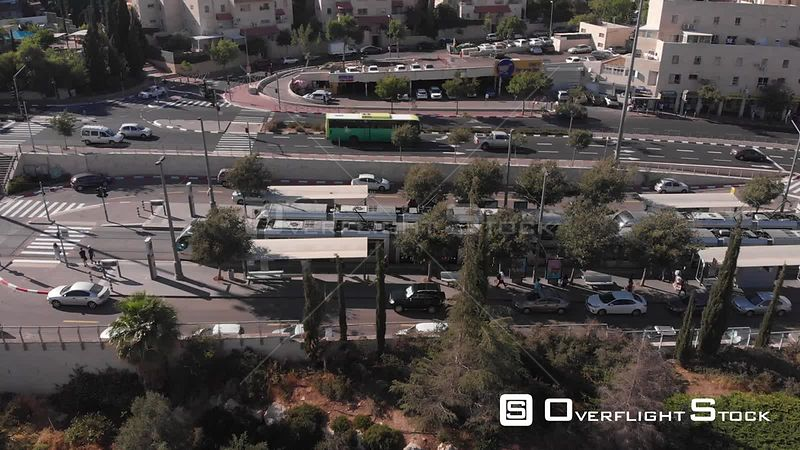 Light Rail Station in Jerusalem Aerial View