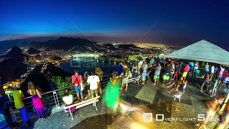 Rio de Janeiro Brazil Rio De Janeiro cityscape time lapse at night from Sugar Loaf Mountain on February th