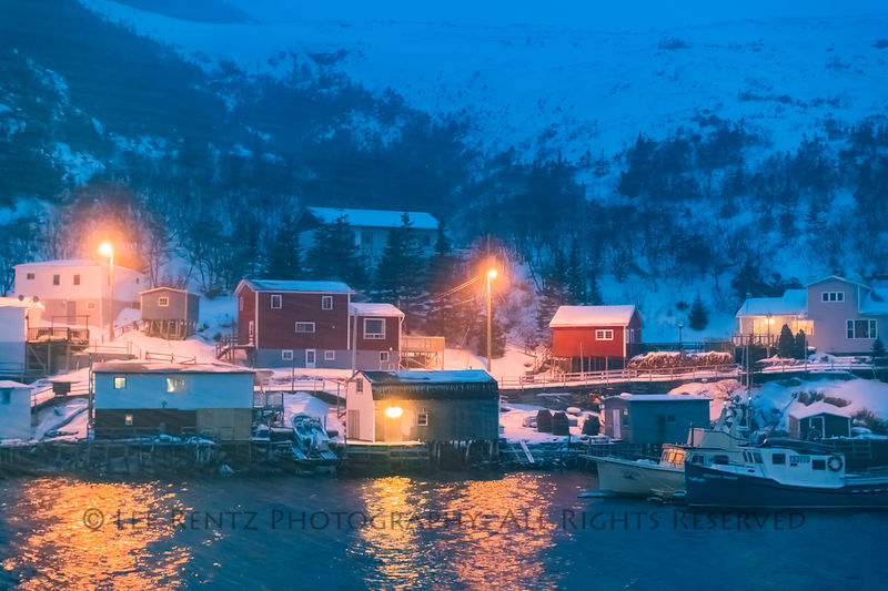 Snowstorm at night when the ferry Marine Voyager reached the outport village of Francois, Newfoundland