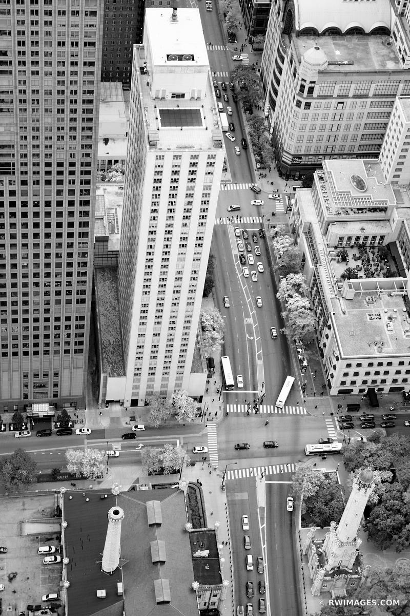 MICHIGAN AVENUE CHICAGO DOWNTOWN AERIAL VIEW CHICAGO ILLINOIS BLACK AND WHITE VERTICAL
