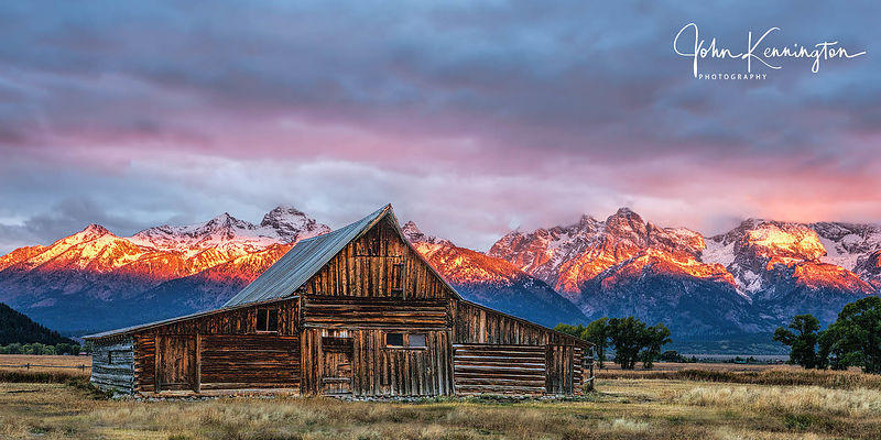 First Light at Moulton Barn No. 2 Panoramic, Grand Teton National Park, Wyoming
