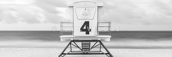 Pensacola Beach Lifeguard Tower 4 Black and White Panorama Photo