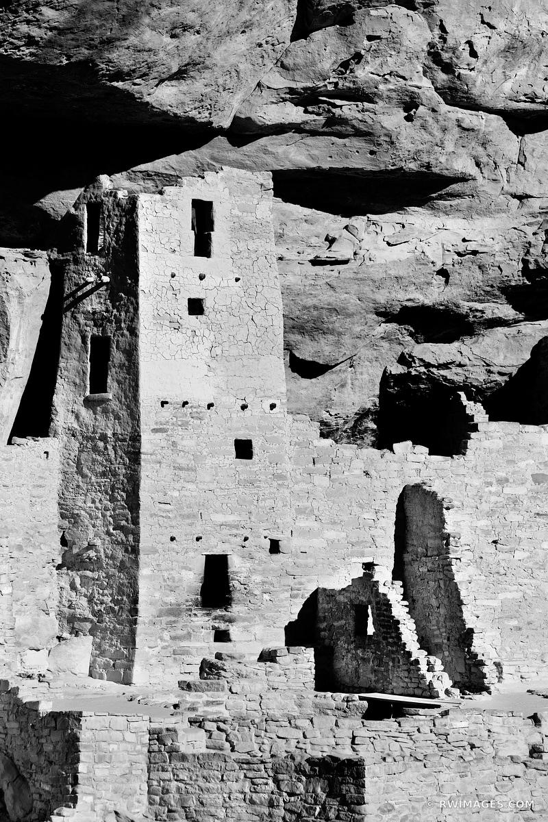 CLIFF PALACE RUINS MESA VERDE NATIONAL PARK COLORADO VERTICAL BLACK AND WHITE