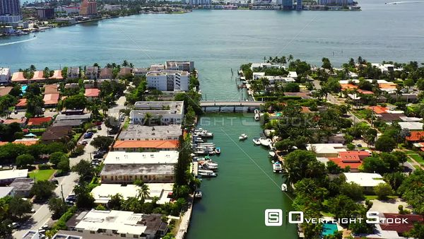 Aerial footage Miami Beach Normandy Isles 4k
