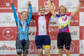Master B Women Points Race Podium. Canadian Track Championships, September 26, 2019