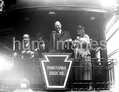 Franklin Roosevelt First Inaguration:   Herbert and Lou Hoover on train caboose  March 4, 1933