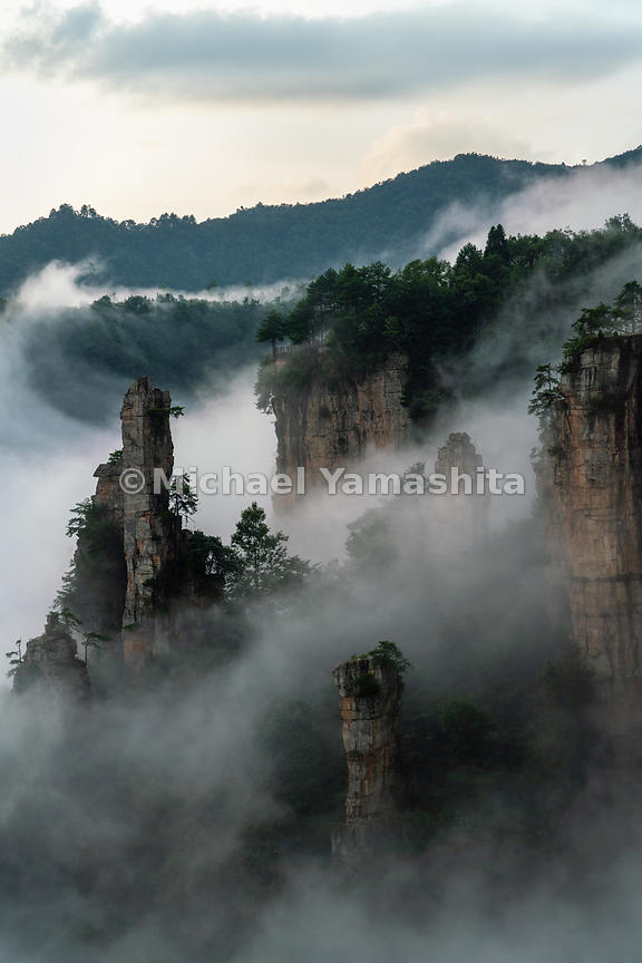 Zhangjiajie National Forest Park, recognized as China's first national forest park, One of four scenic spots in the larger Wu...