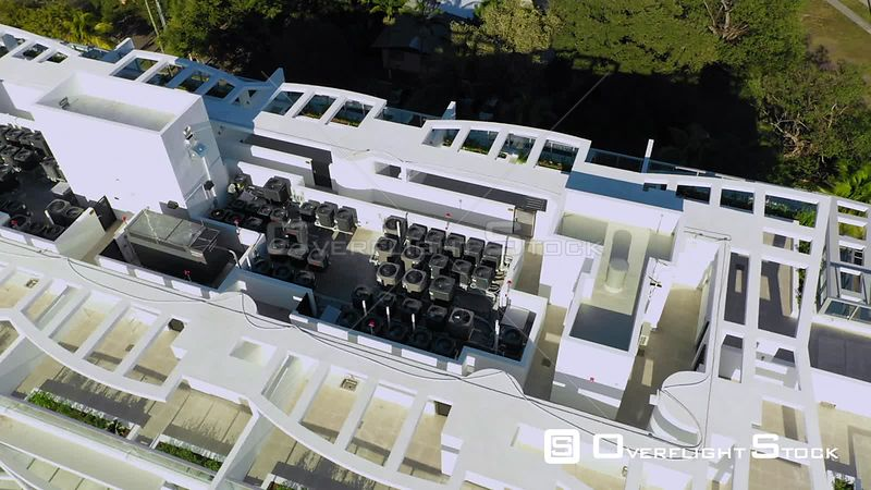 Aerial Video Building Rooftop Hvac Air Conditioning Systems Compressors Florida