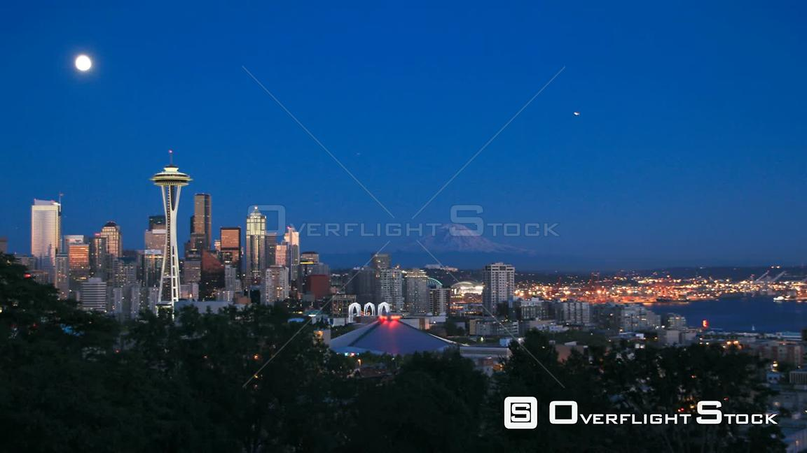 Seattle Washington State USA Seattle cityscape time lapse an hour after sunset.