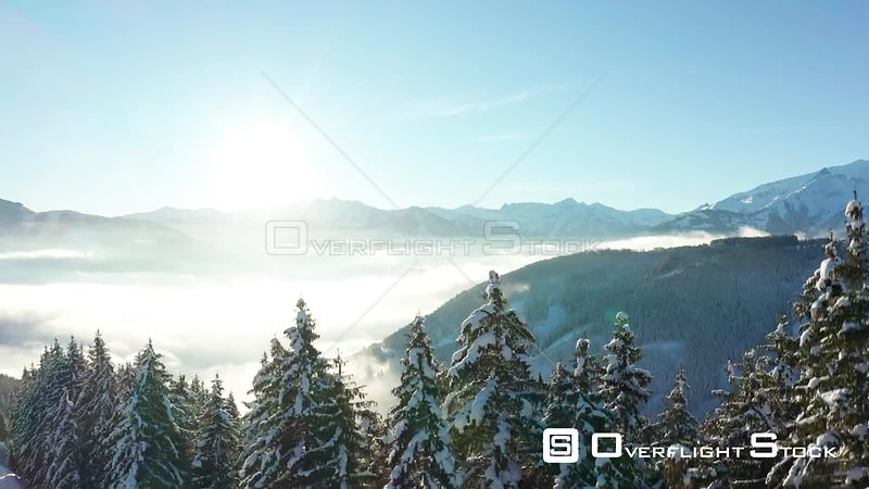 A Rise Over Trees on a Sunny Day in Zell Am See, Austria in Winter.