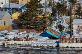 Houses and Boats of Grey River Outport in Newfoundland