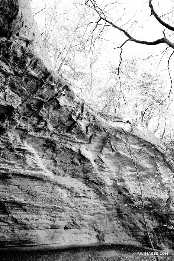 STARVED ROCK STATE PARK ILLINOIS MIDWESTERN LANDSCAPE BLACK AND WHITE