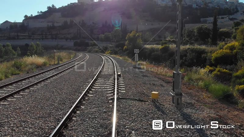 Drone Footage of Train Rails in Jerusalem Israel