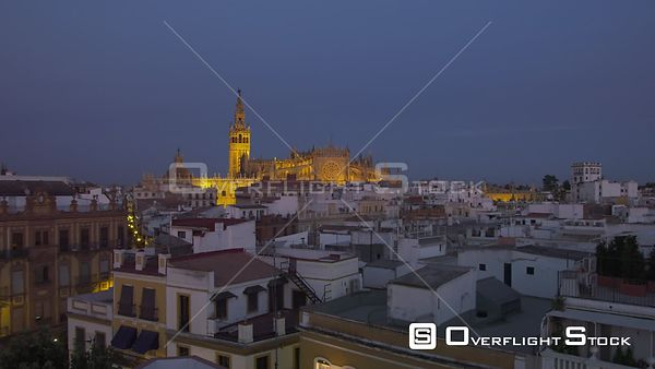 Dusk Video of Seville Cathedral and Residential Neighbourhood Spain