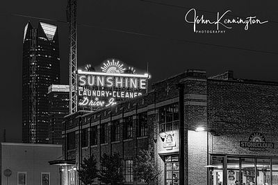 Sunshine Laundry No 2 (BW), Route 66, Oklahoma City