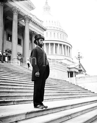 Person dressed as Abraham Lincoln on steps of U.S. Capitol - Abraham Lincoln impersonator ca. 1935