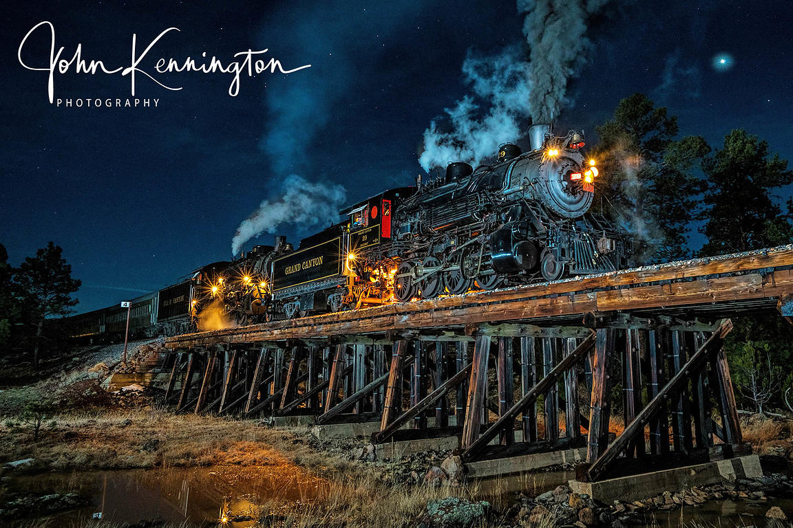 Moonlight at Cataract Creek, Grand Canyon Railroad, Williams, Arizona