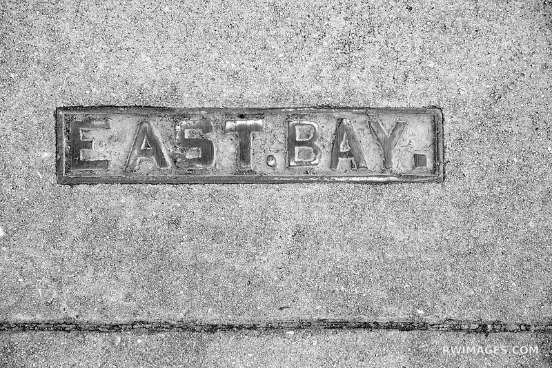 EAST BAY STREET SIDEWALK SIGN CHARLESTON SOUTH CAROLINA BLACK AND WHITE