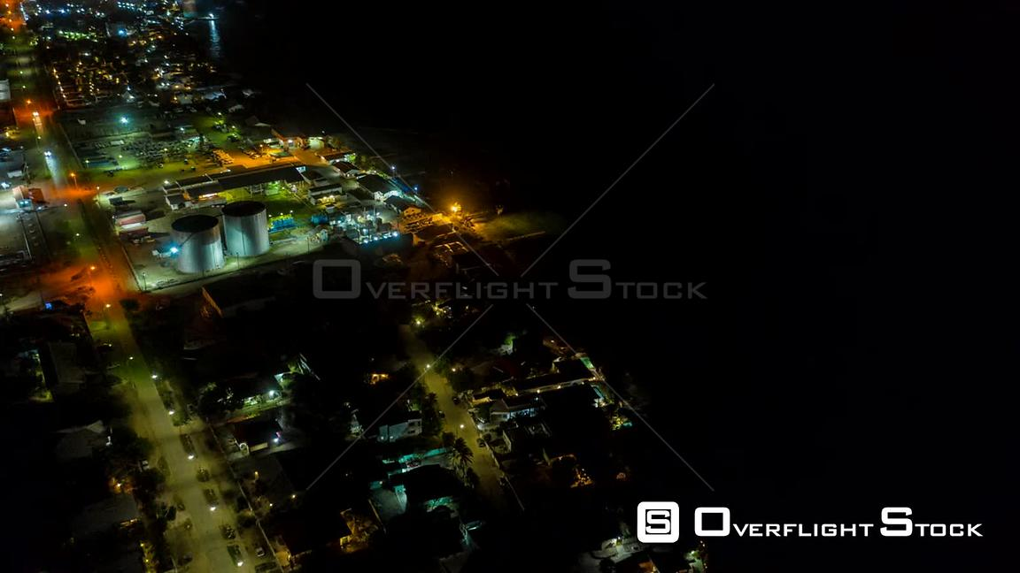 Bonaire Caribbean Netherlands Aerial Birdseye nighttime cityscape hyperlapse low to high