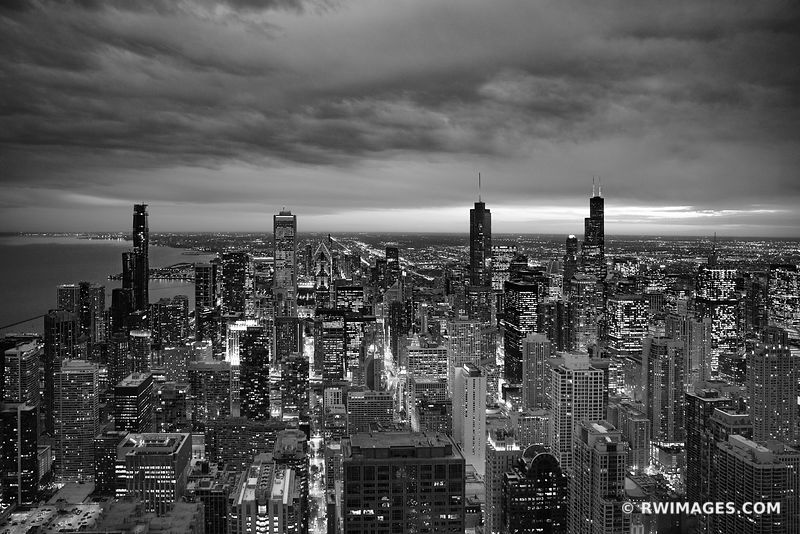 CITY LIGHTS CHICAGO DOWNTOWN AERIAL VIEW CHICAGO ILLINOIS BLACK AND WHITE