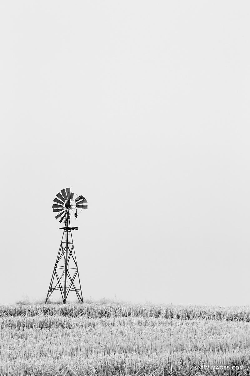 FARM WINDMILL PALOUSE EASTERN WASHINGTON STATE BLACK AND WHITE VERTICAL