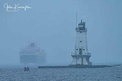 SS Badger Approaching Ludington Light In The Fog, Lake Michigan, Luddington, Michigan