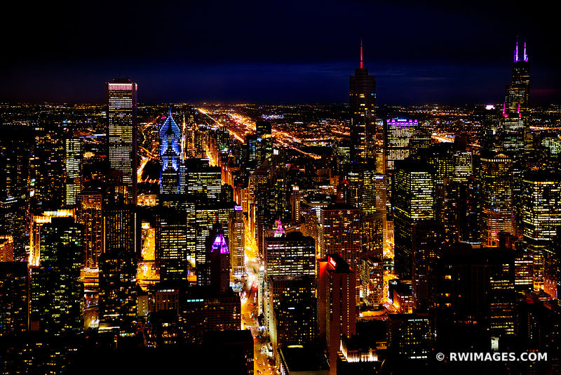 CITY LIGHTS AT NIGHT MICHIGAN AVENUE CHICAGO DOWNTOWN AERIAL VIEW CHICAGO ILLINOIS