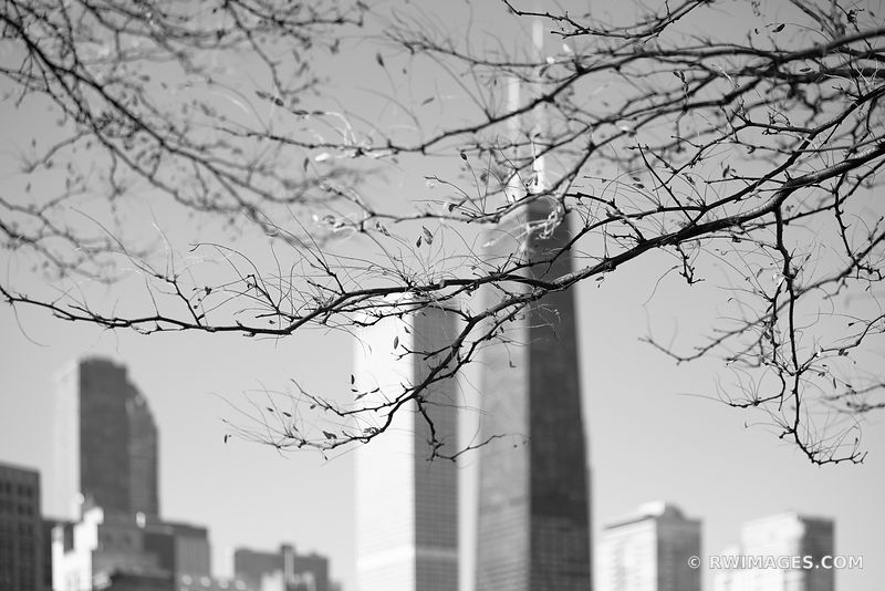 NORTH SIDE HANCOCK TOWER CHICAGO ILLINOIS BLACK AND WHITE