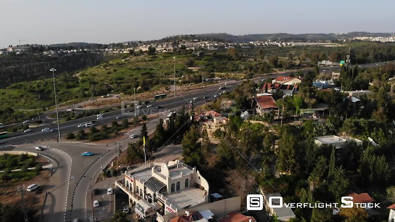 Jerusalem Tel Aviv Main Road Aerial View