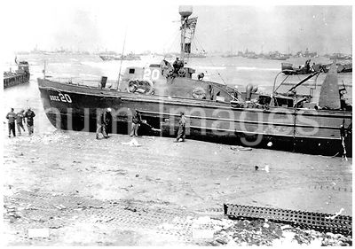 probably June 1944 - The USCG-20 was driven ashore during the storm that destroyed the artificial harbors in June, 1944.
