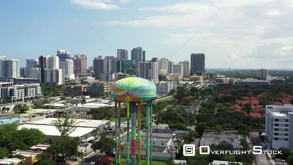 Aerial pull out shot Downtown Fort Lauderdale FL water tower 4k