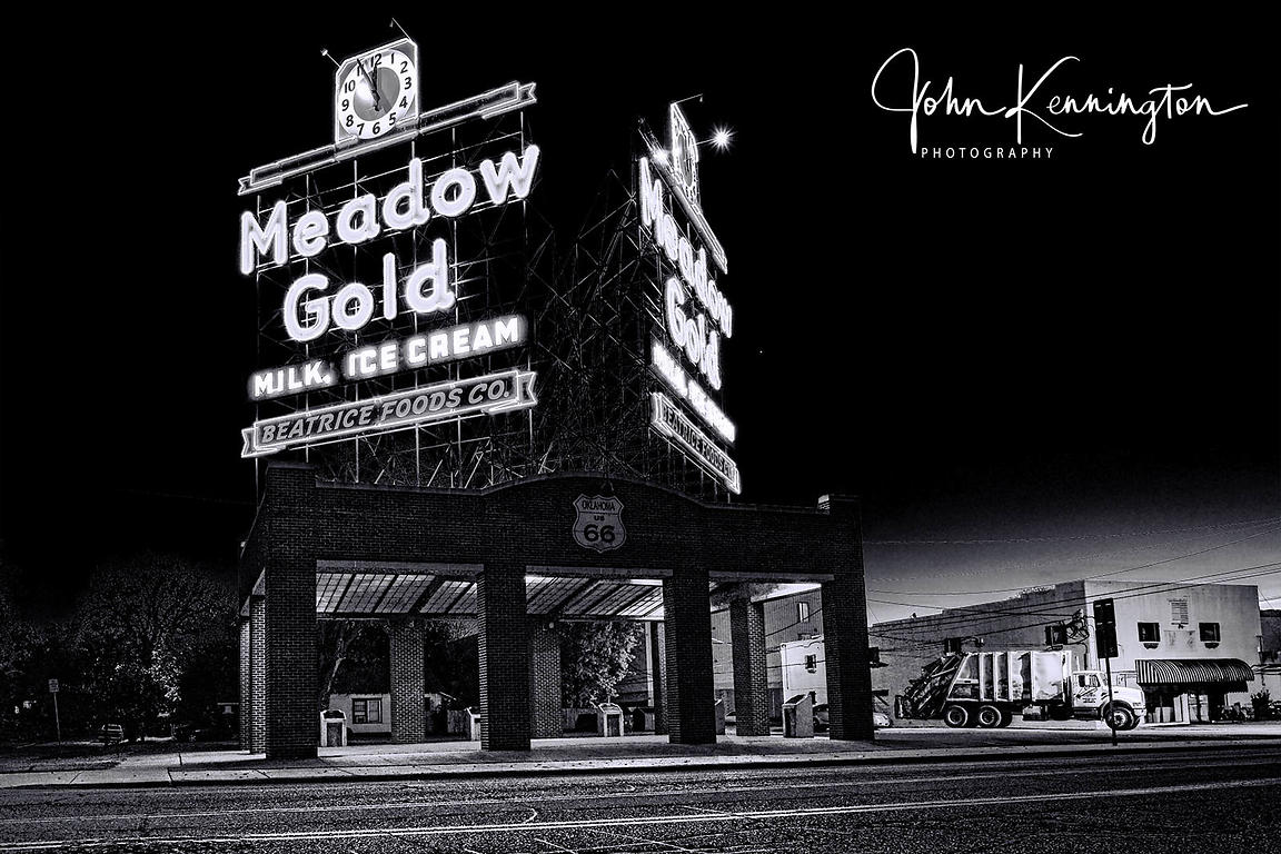 Tulsa Route 66 Meadowgold Neon Sign (BW)
