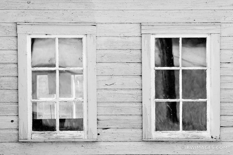 WINDOWS OLD FISHING VILLAGE WASHINGTON ISLAND DOOR COUNTY WISCONSIN BLACK AND WHITE