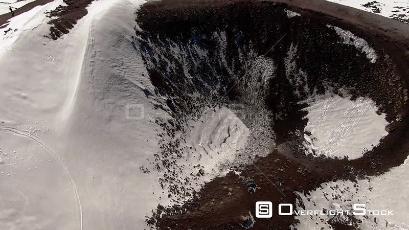 Aerial view of a small volcanic crater on mount Etna in Sicily Italy