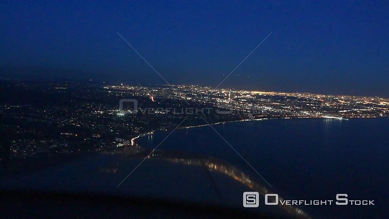 Pilot POV forward View Flying Plate from Cessna Los Angeles at Night