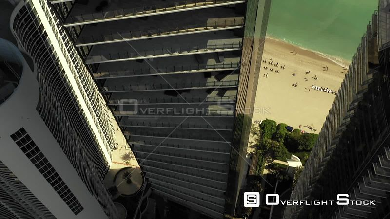 Aerial Tilt up Reveal Muse Residences Sunny Isles Beach Florida USA Modern Architecture