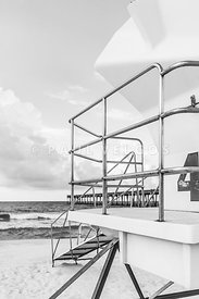 Lifeguard Tower 4 Pensacola Beach Black and White Photo