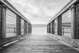 Pensacola Beach Wooden Walkway Black and White Photo