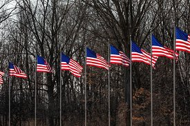 Avenue of Flags at Fort Custer National Cemetery