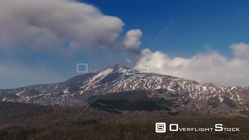 Mount Etna in Sicily With Snow in Winter