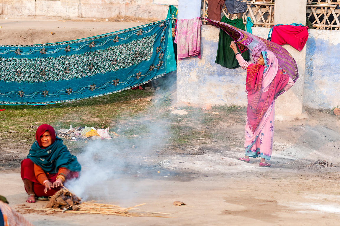 This photograph of a pilgrim doing her daily chores during the Kumbh Mela  was shot in Allahabad.